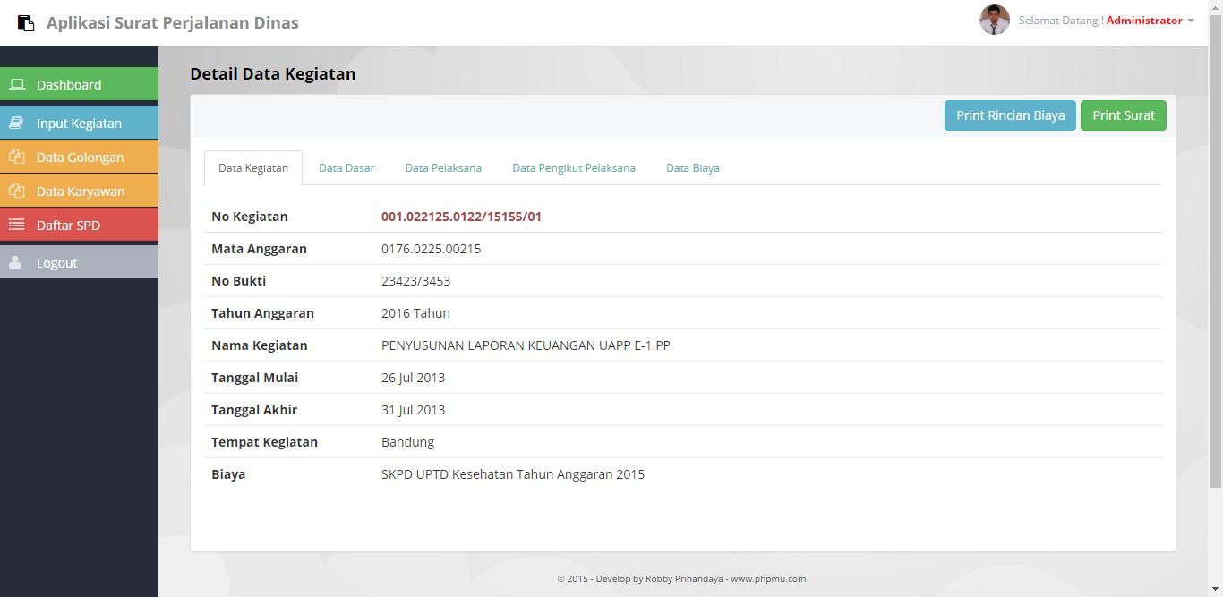 Aplikasi Surat Perjalanan Dinas Responsive Dengan Php Dan Mysql